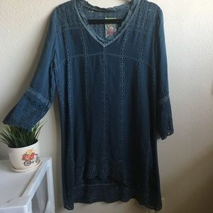 JOHHNY WAS BLUE EYELET TUNIC #344